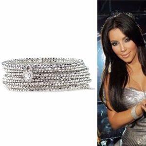 stella & dot silver bardot spiral bangle bracelet
